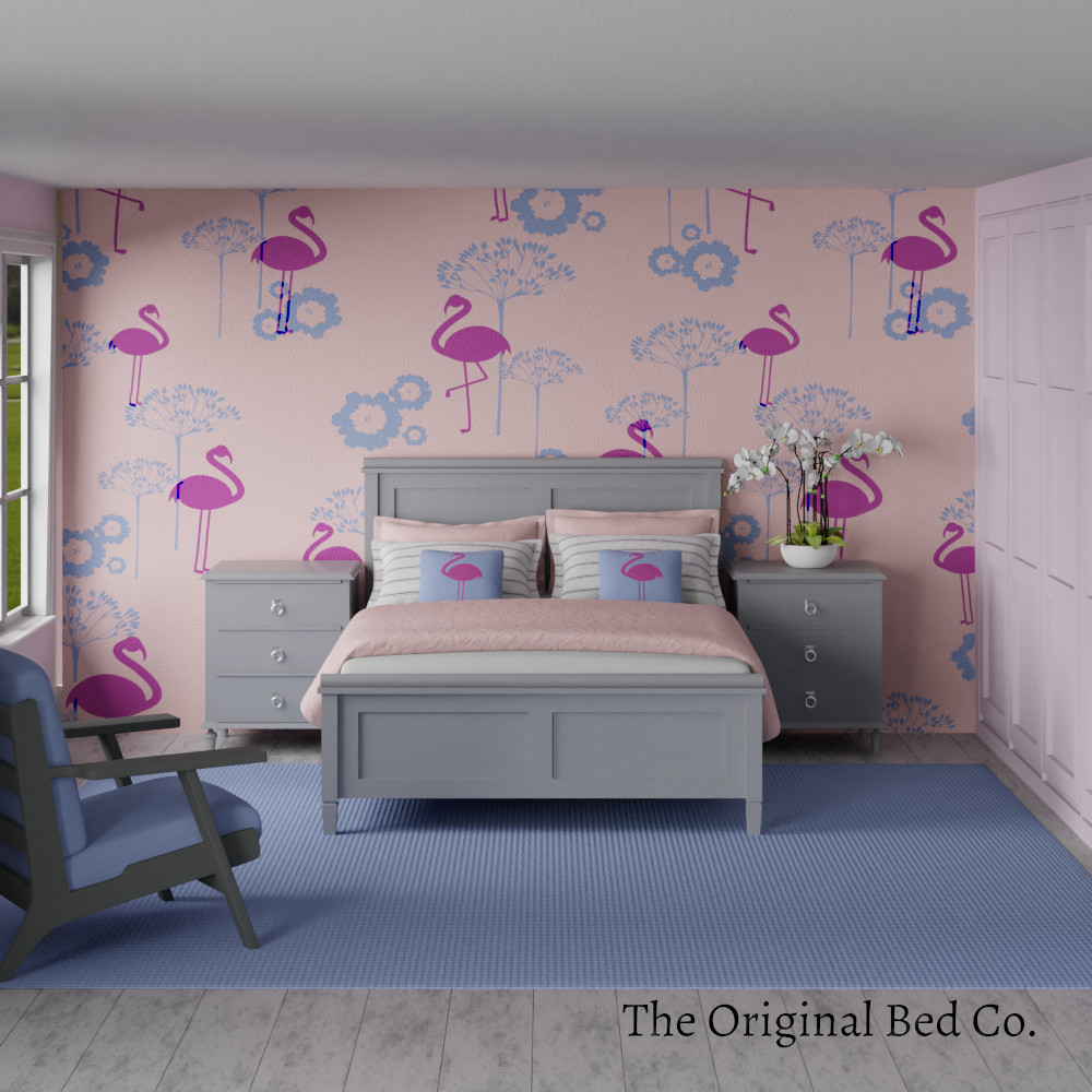 Rendered bedroom image with Pantone colour of the year 2016