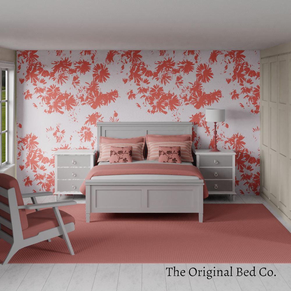 Rendered bedroom image with Pantone colour of the year 2019