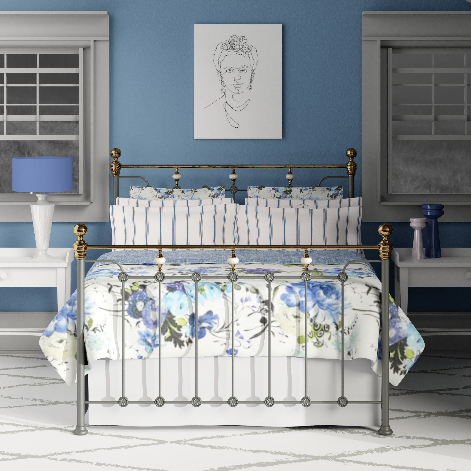 Glenholm iron bed in grey with brass finials