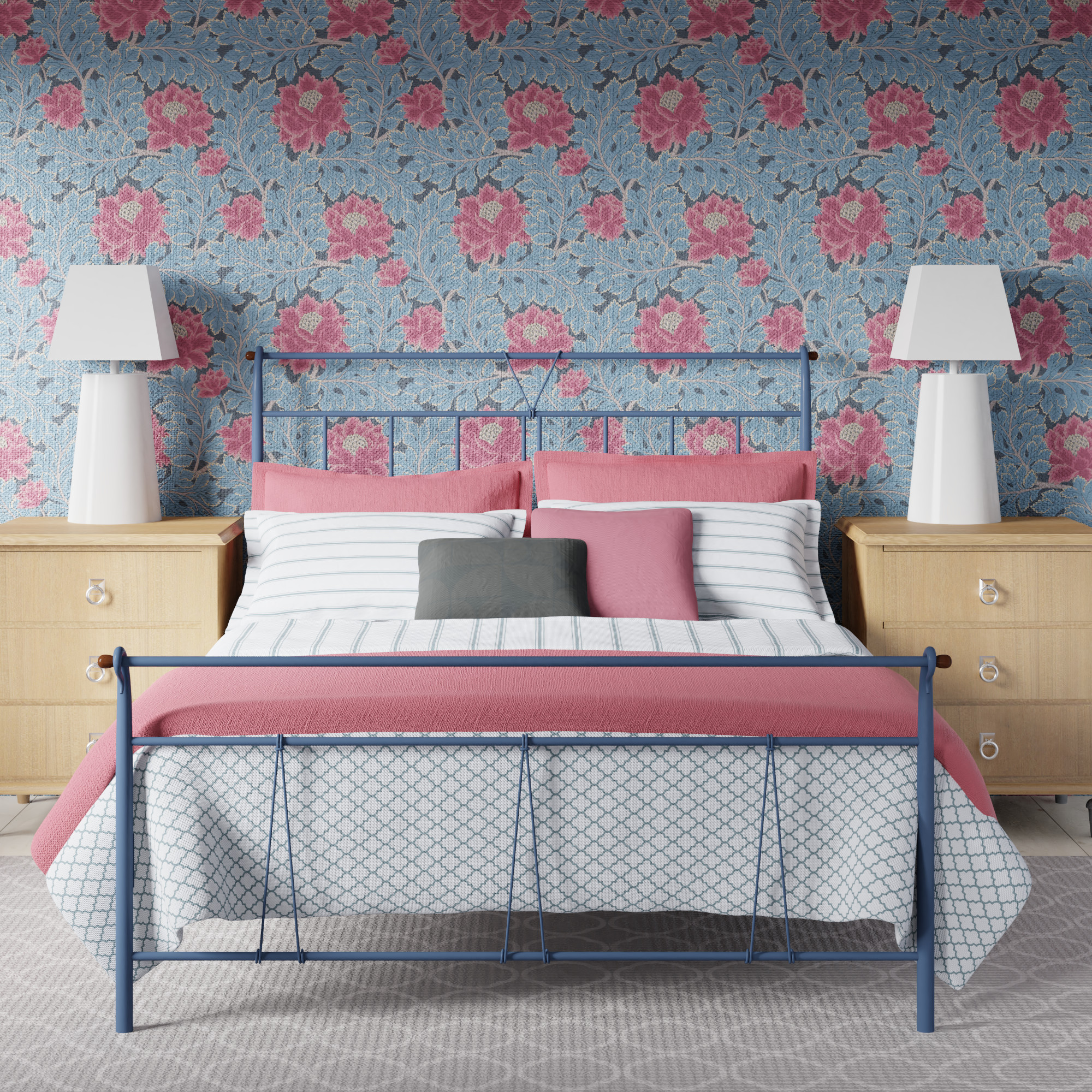 Pellini iron bed in a blue grey paint