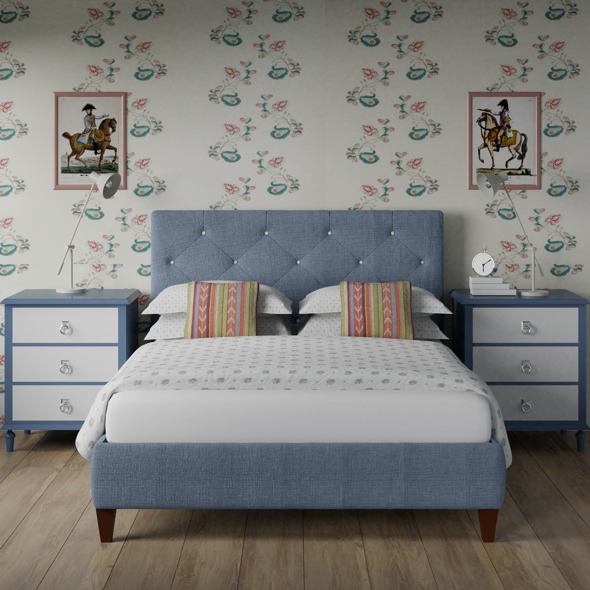 Yushan deep buttoned upholstered bed in a blue grey fabric