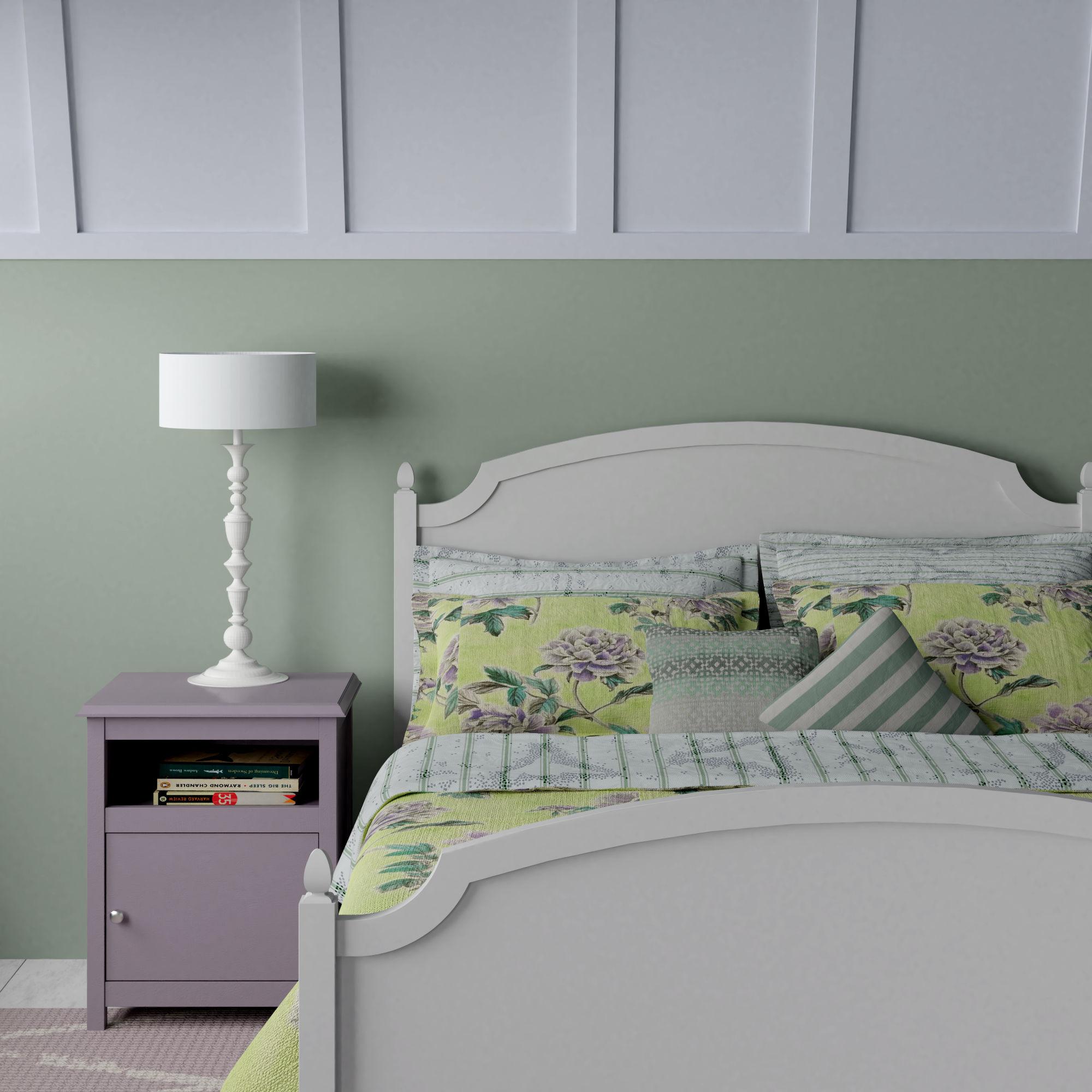 Kipling painted wood bed inspired by grandmillenial design