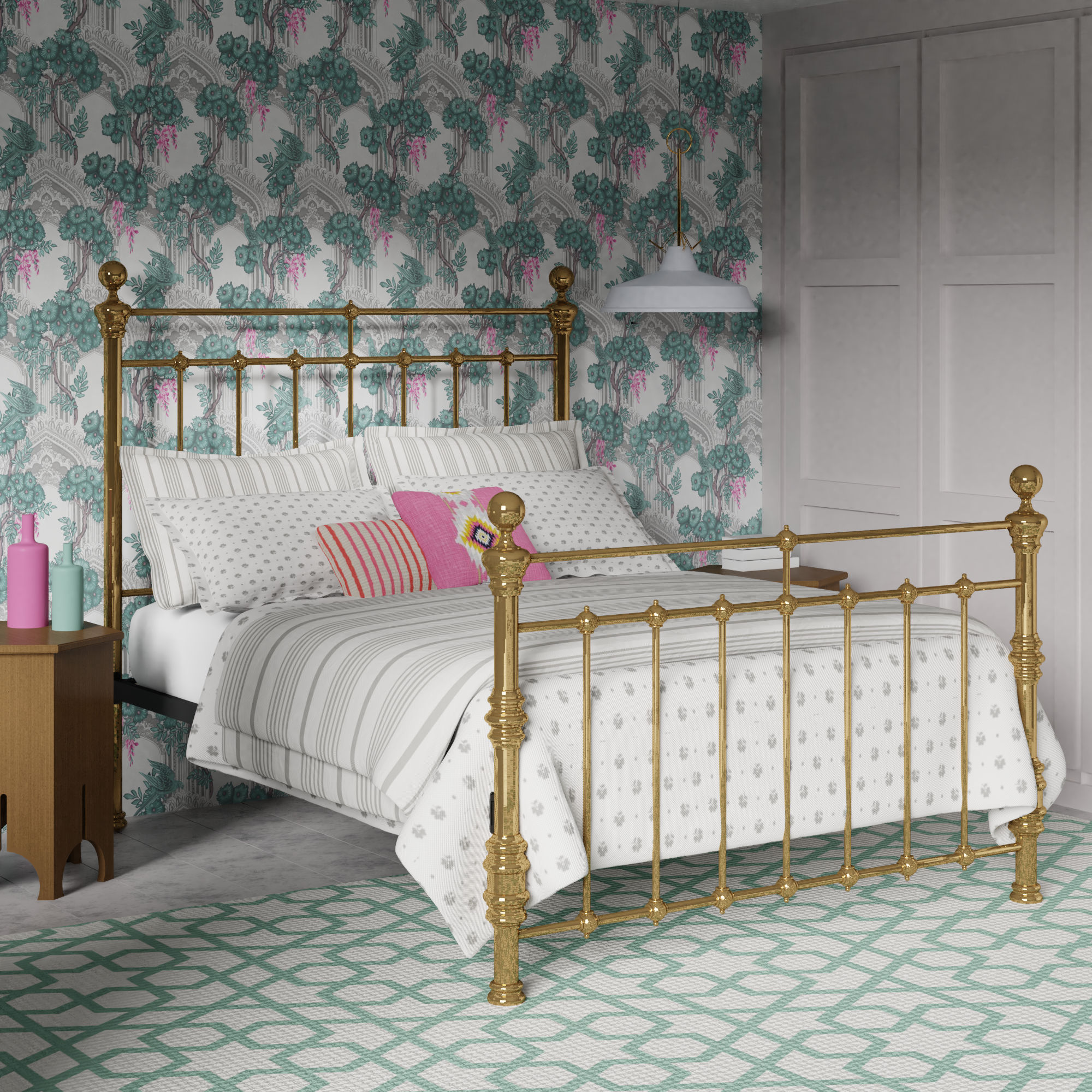 Waterford brass bed frame inspired by grandmillenial design