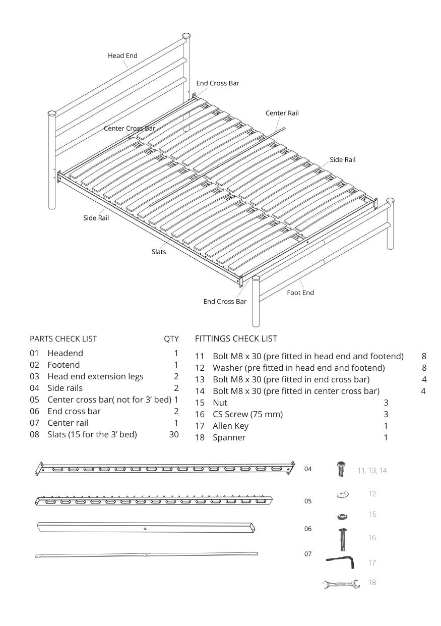 Iron bed assembly instructions parts checklist