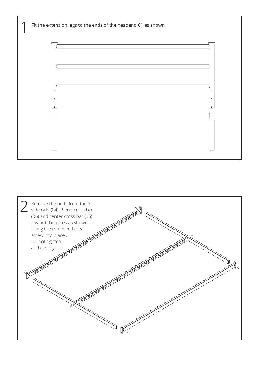 Iron bed assembly instructions step 1 and 2
