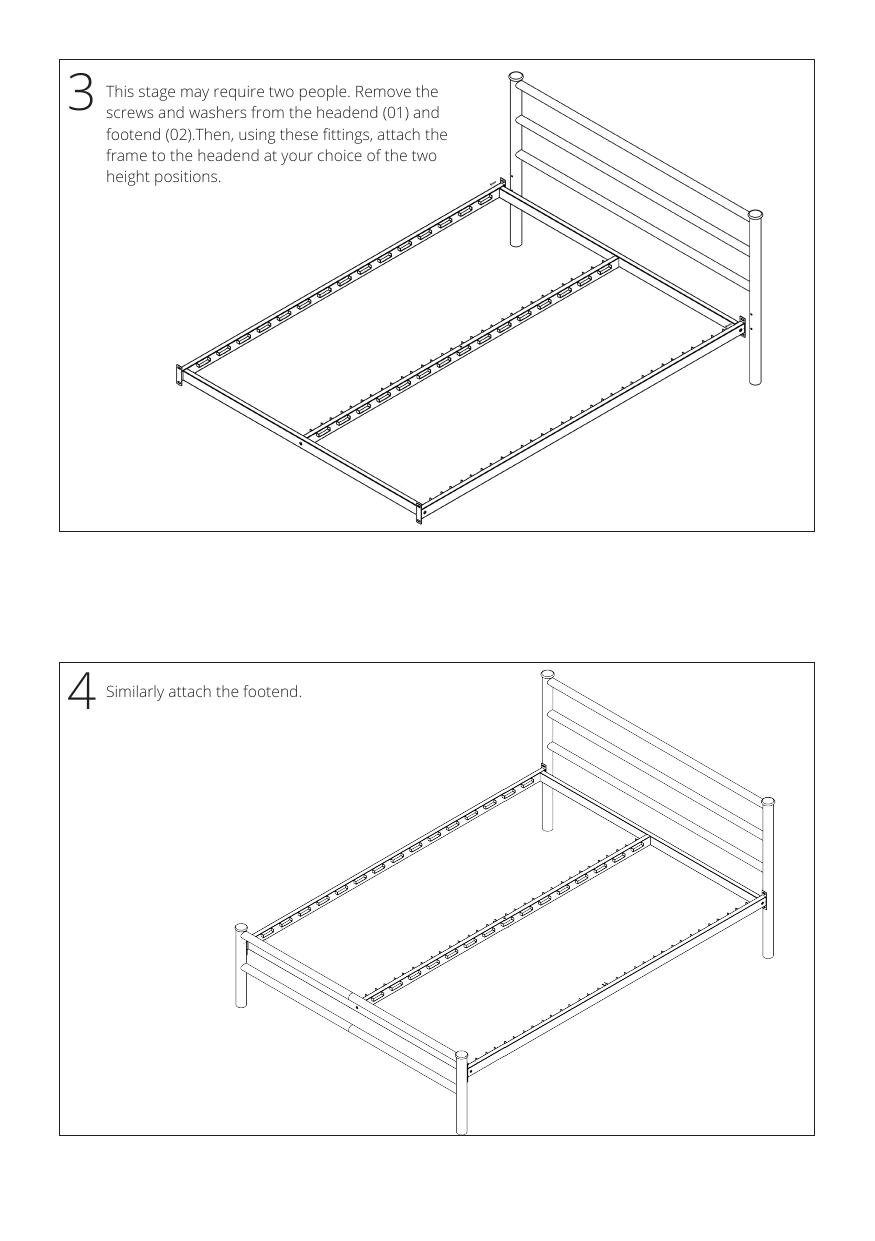 Iron bed assembly instructions step 3 and 4
