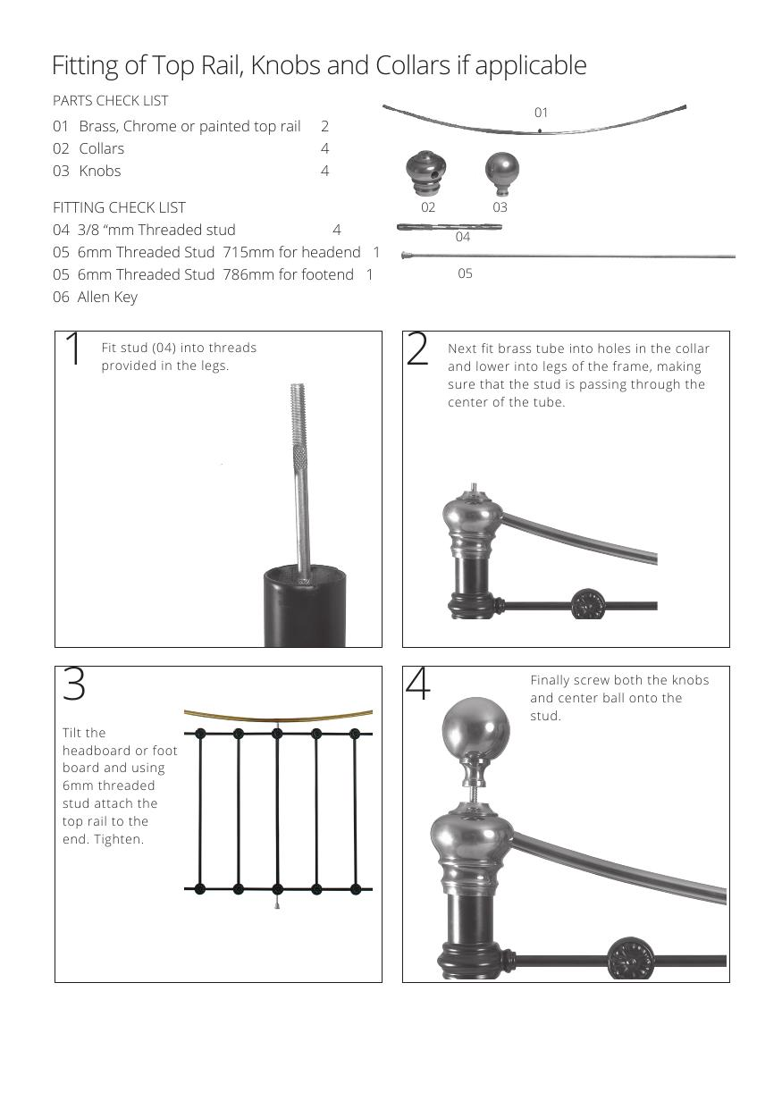 Iron bed assembly instructions knobs and finials