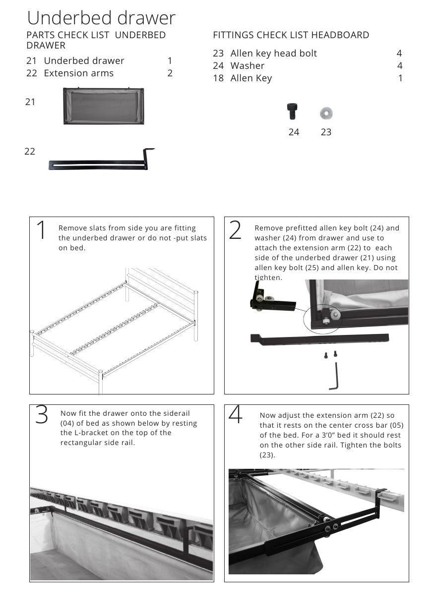 Iron bed assembly instructions underbed drawers 1