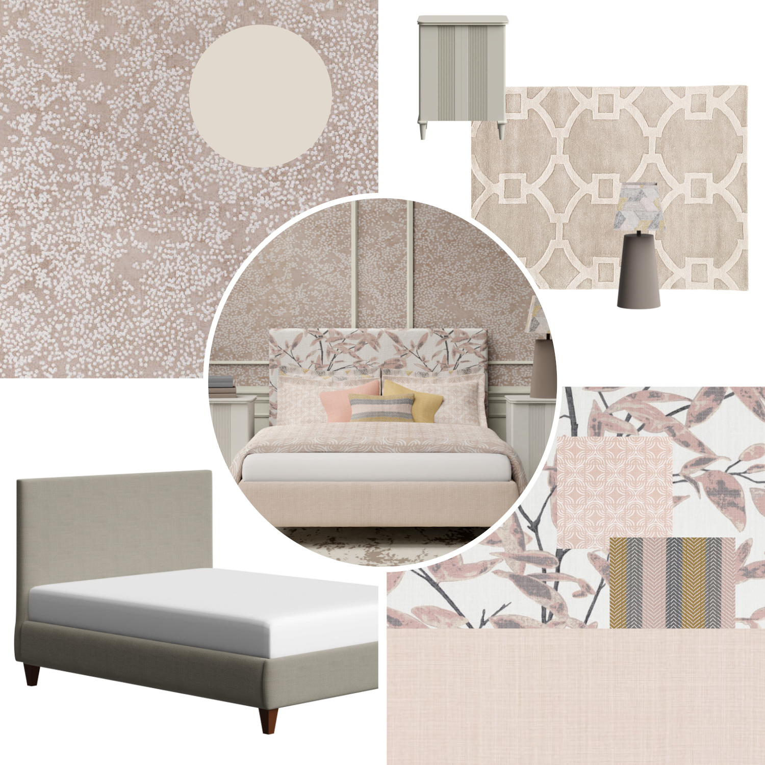 Moodboard for Yushan Upholstered Bed in Peach
