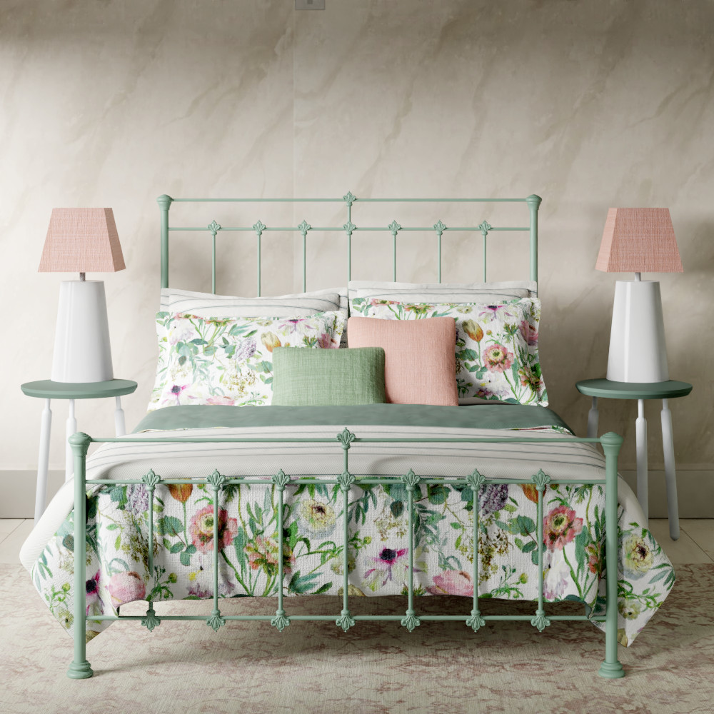 Edwardian iron bed in mint green