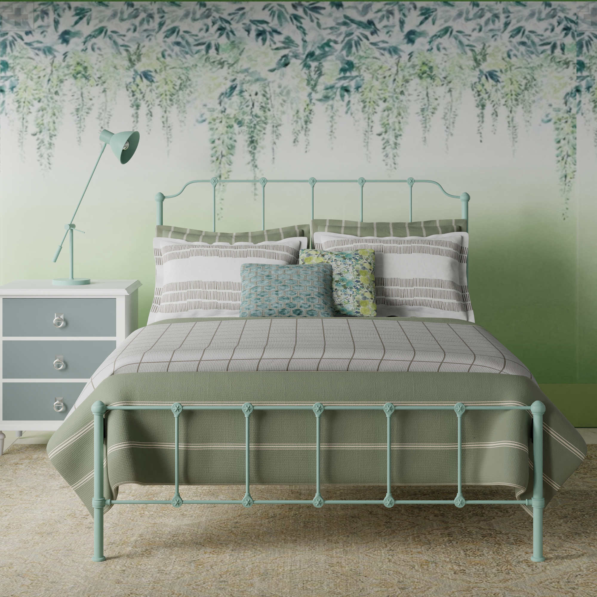 Julia iron bed in mint green