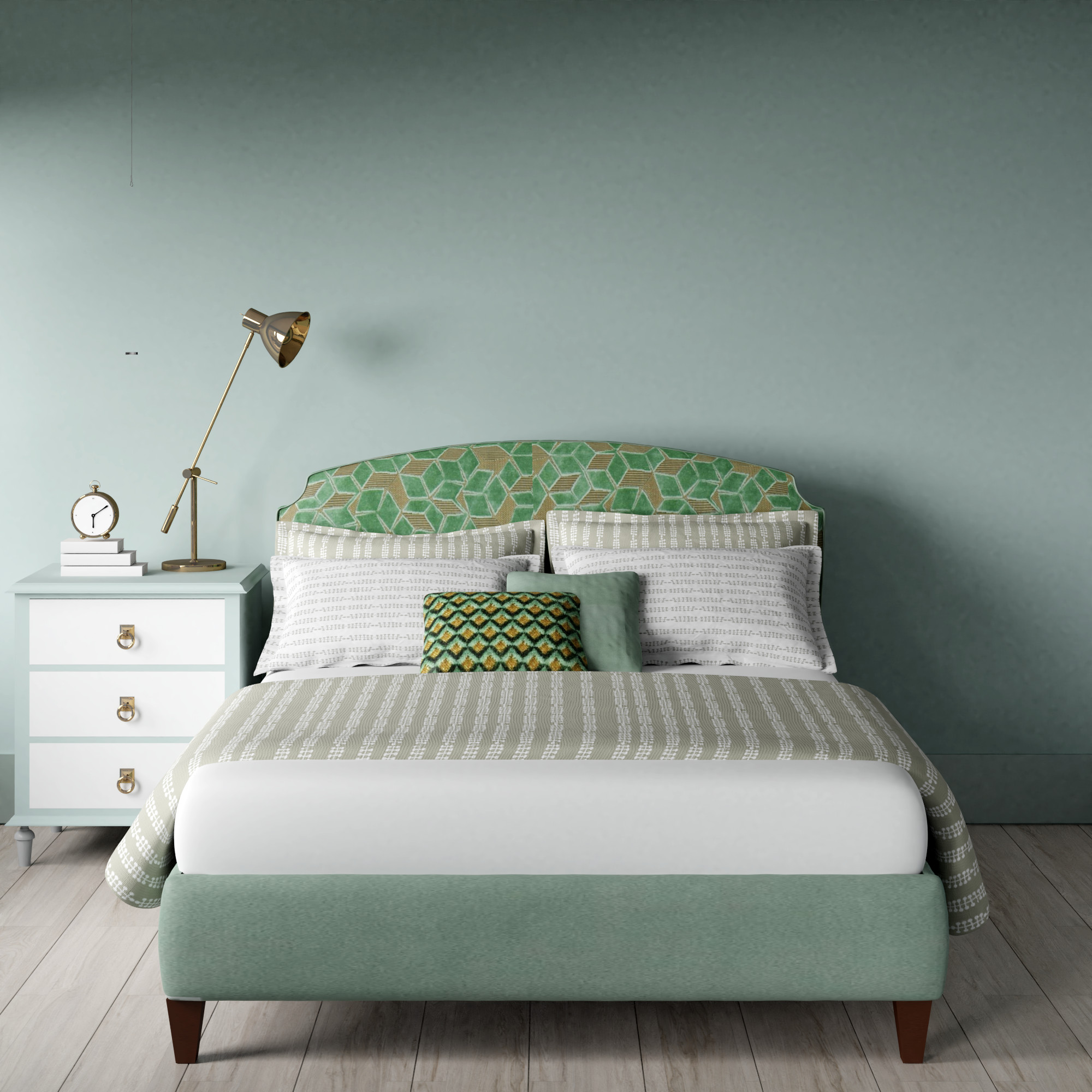 Lide upholstered bed in mint green
