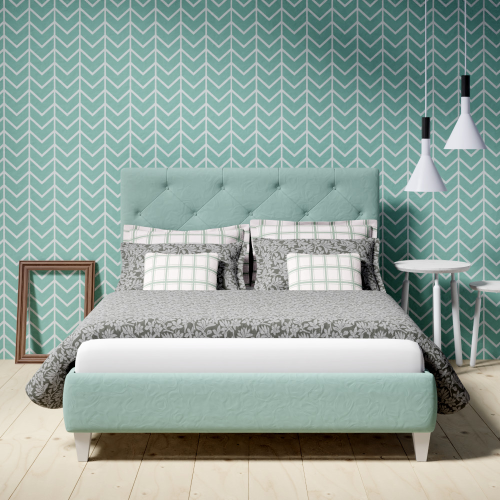 Yushan upholstered bed in mint green