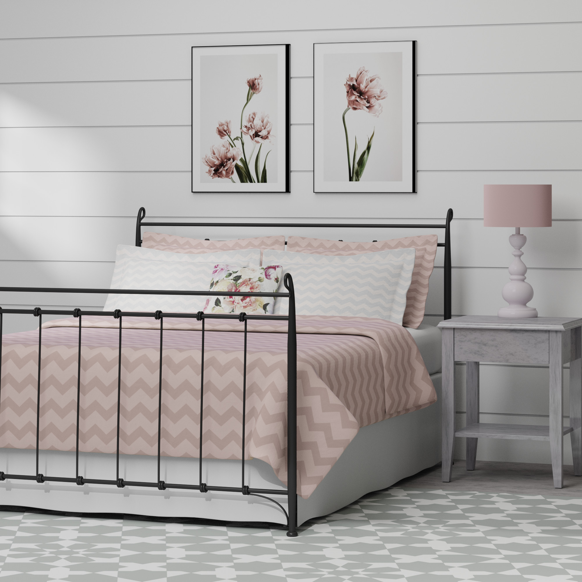 Tiffany iron bed in black with peach linens