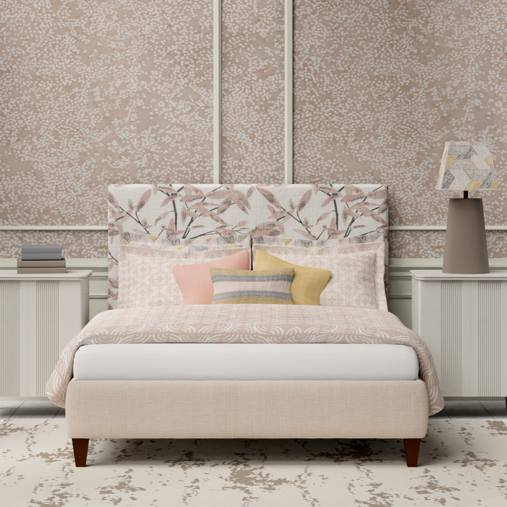 Tiffany bed with peach linens