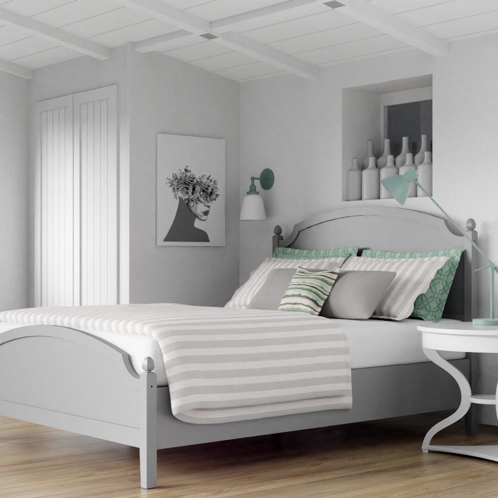 Kipling wood bed in a scandi room