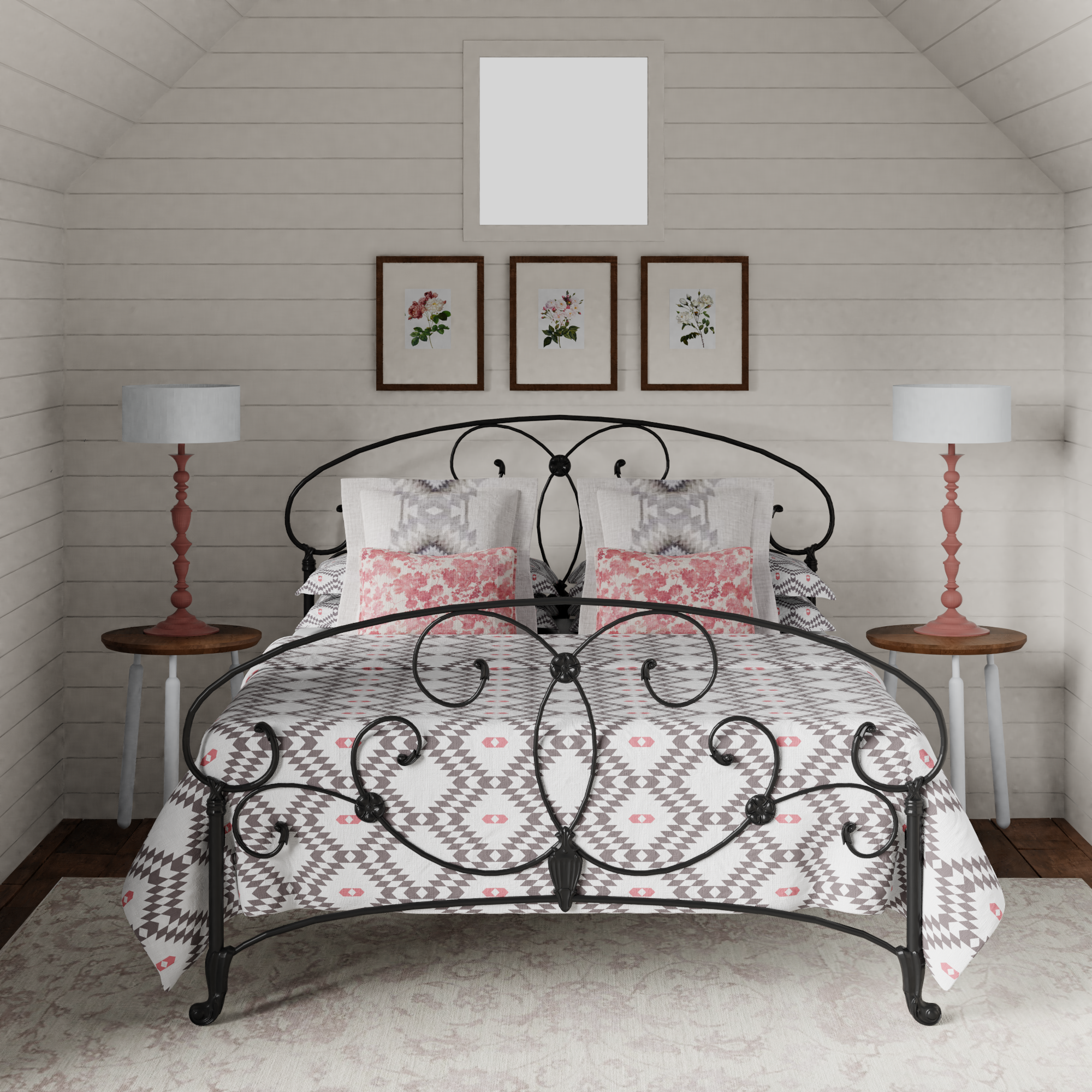 Arigna iron bed in a small bedroom