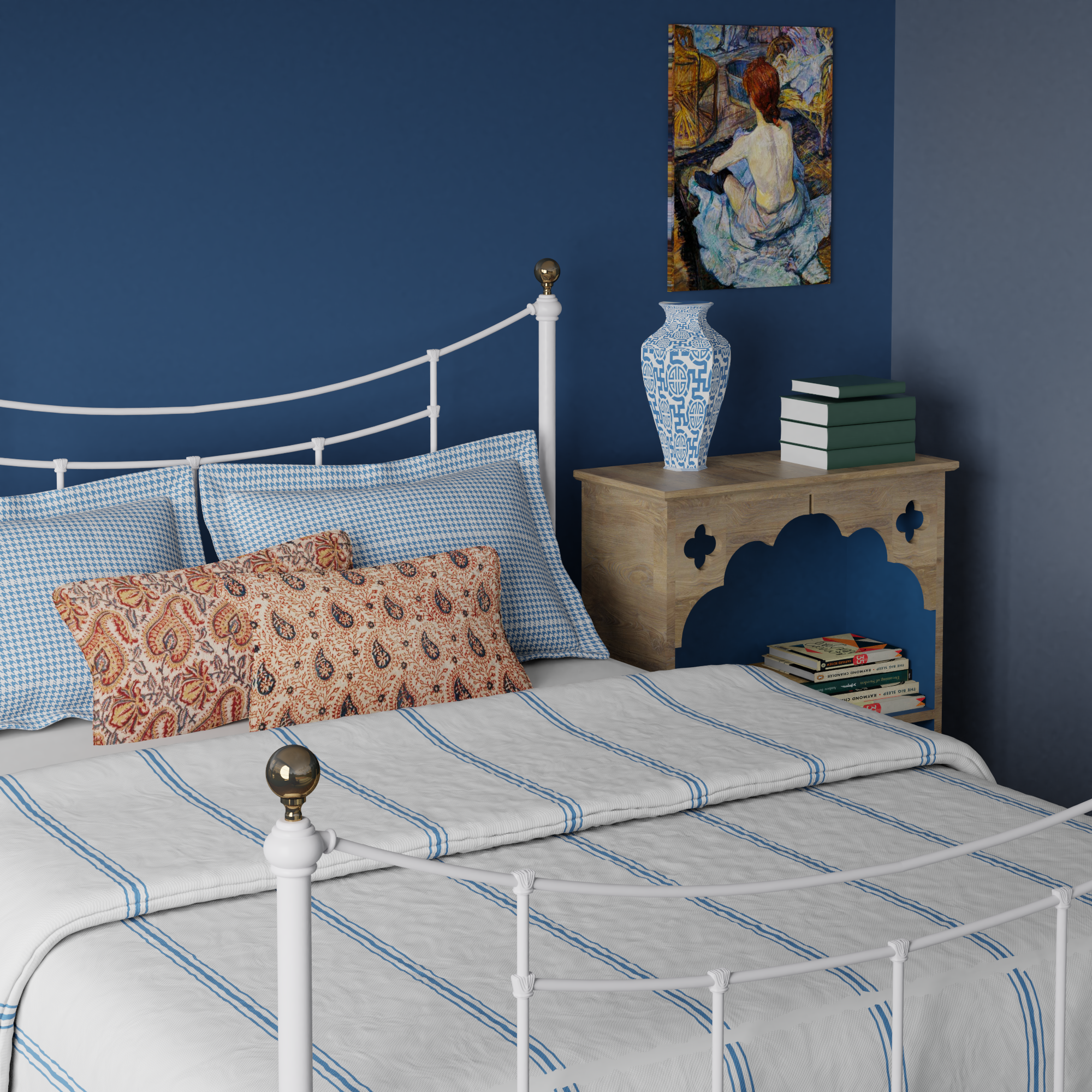 Virginia iron bed in a blue bedroom