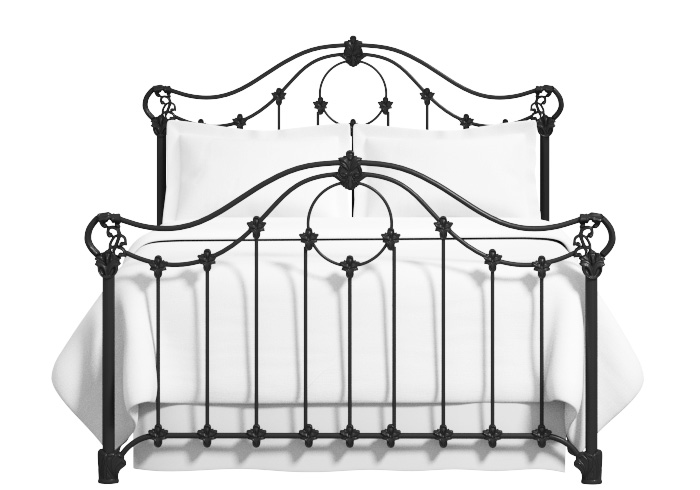 Cutout of Alva iron bed painted in glossy ivory with gold highlighting