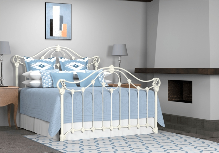 Glossy ivory painted Alva iron bed in a room set