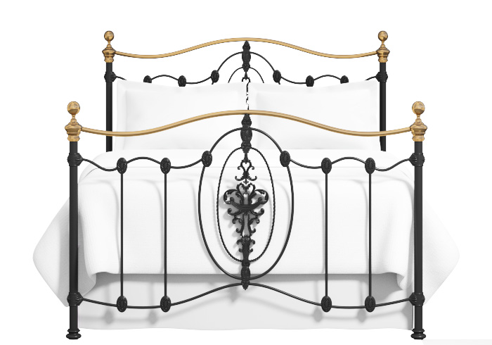 Cutout of Ardmore iron bed in silver patina with gold highlights