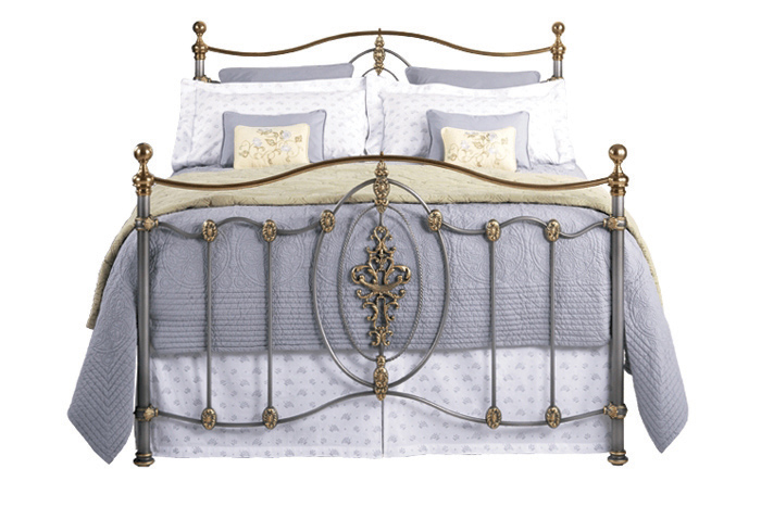 Ardmore iron bed in silver patina with gold highlights