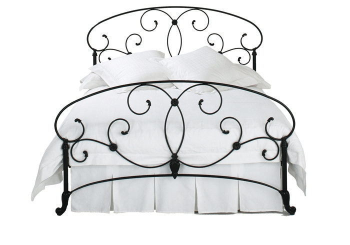 Cutout of Arigna iron bed in satin black