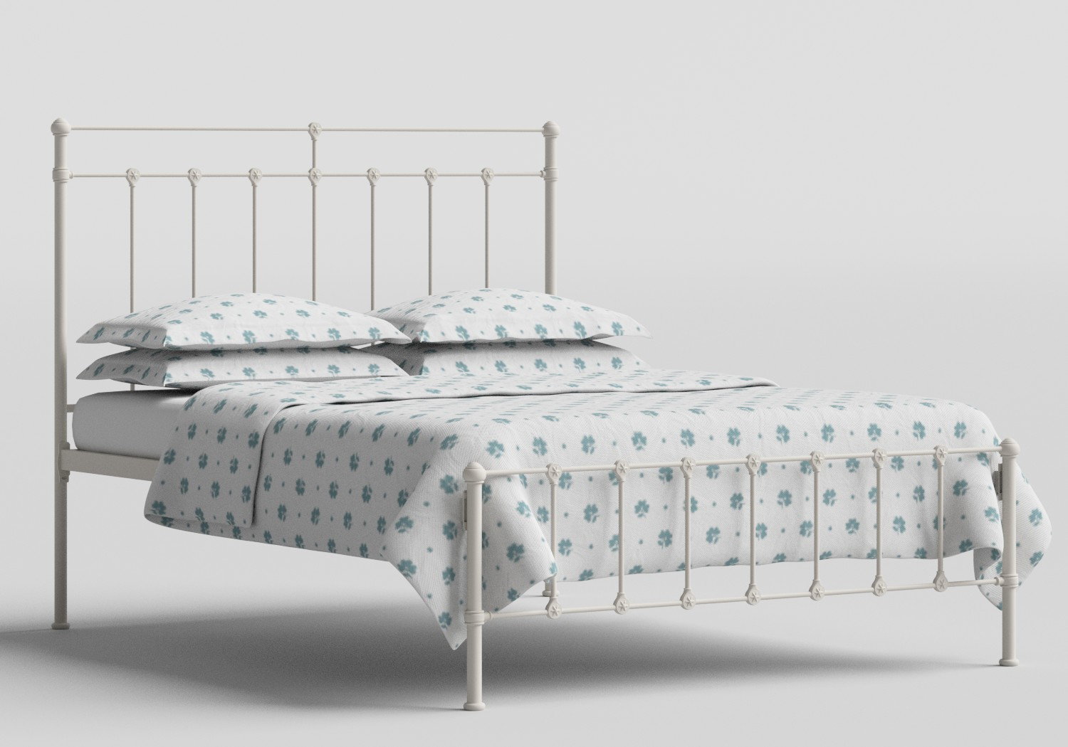 Ashley Iron/Metal Bed in Glossy Ivory