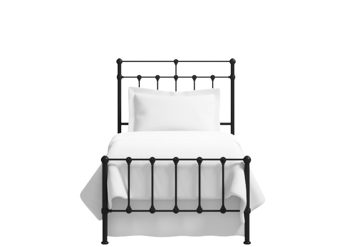 Ashley low footend single iron bed in satin black