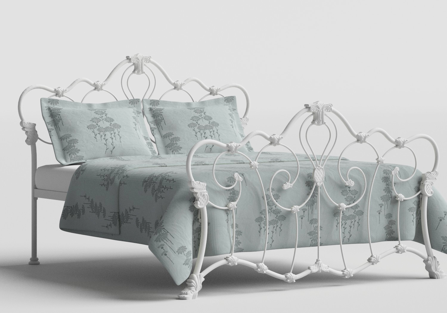 Athalone Iron/Metal Bed in Satin White