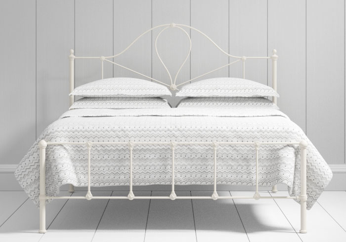 Athena low footend iron bed in ivory