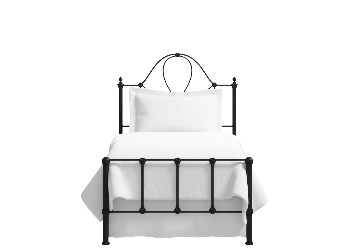 Athena low footend single iron bed in satin black