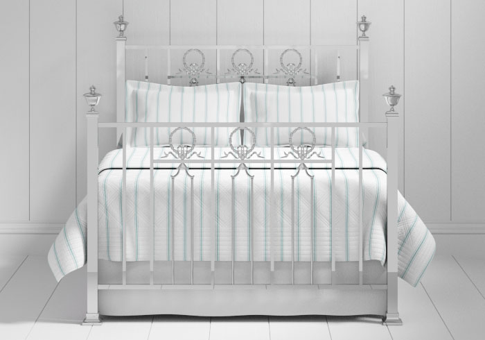 Ayr bed in a chrome finish