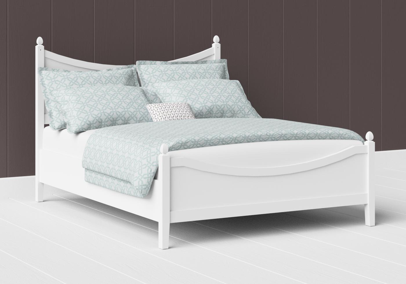 Blake low footend painted wood bed in satin white