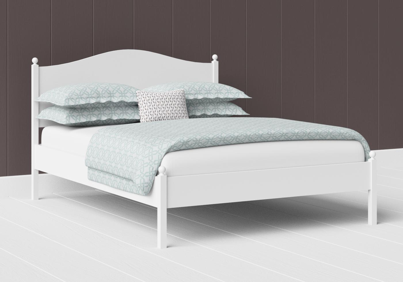 Brady low footend painted wood bed in satin white
