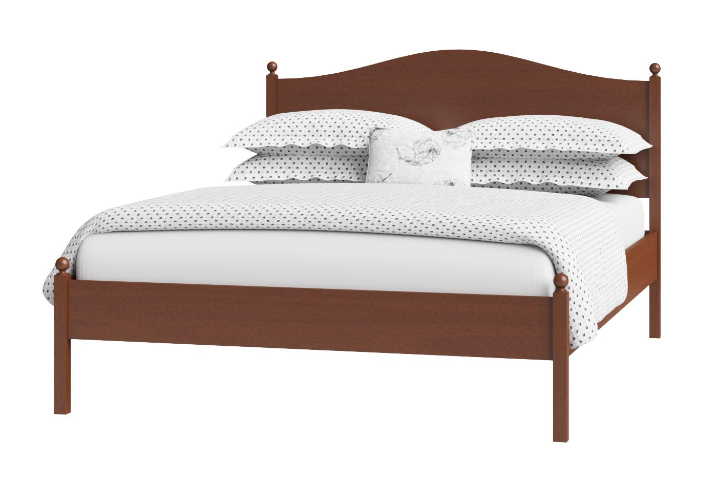 Cutout of Brady low footend wood bed in a dark cherry finish