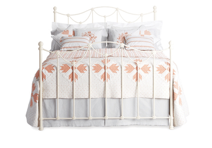 Carie iron bed in glossy ivory