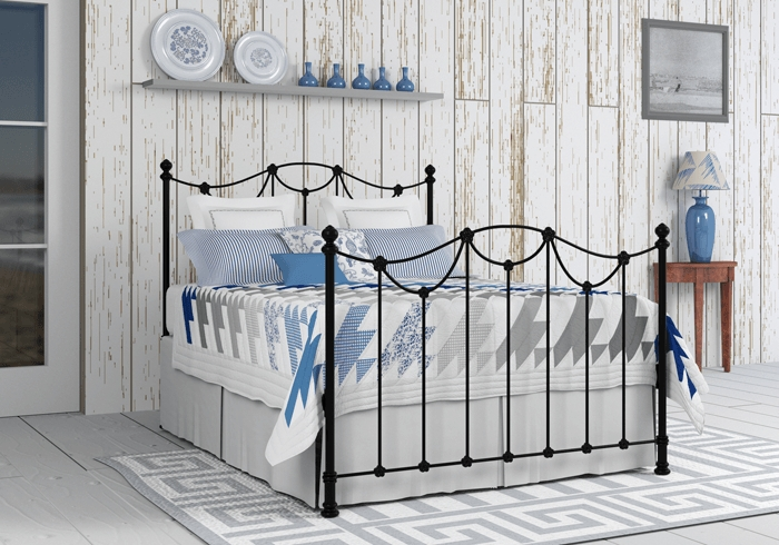 Carie iron bed in satin black