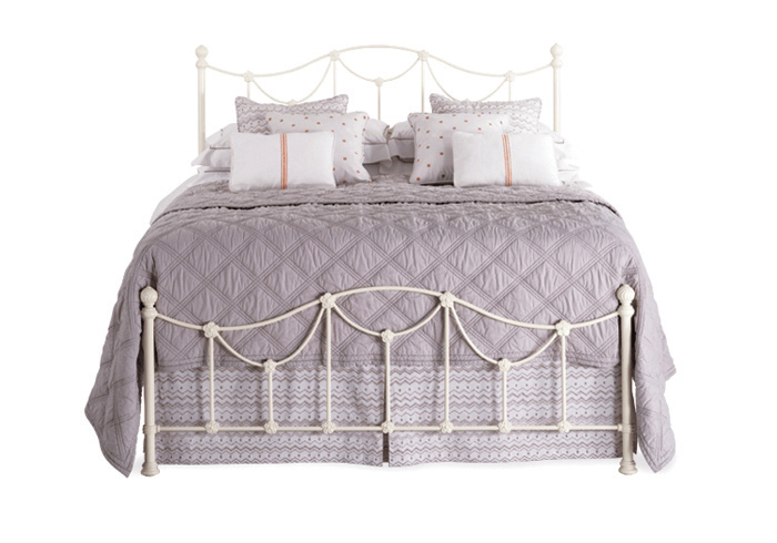 Carie low footend iron bed in glossy ivory