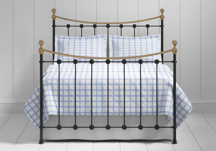 Carrick iron bed in black with antique brass