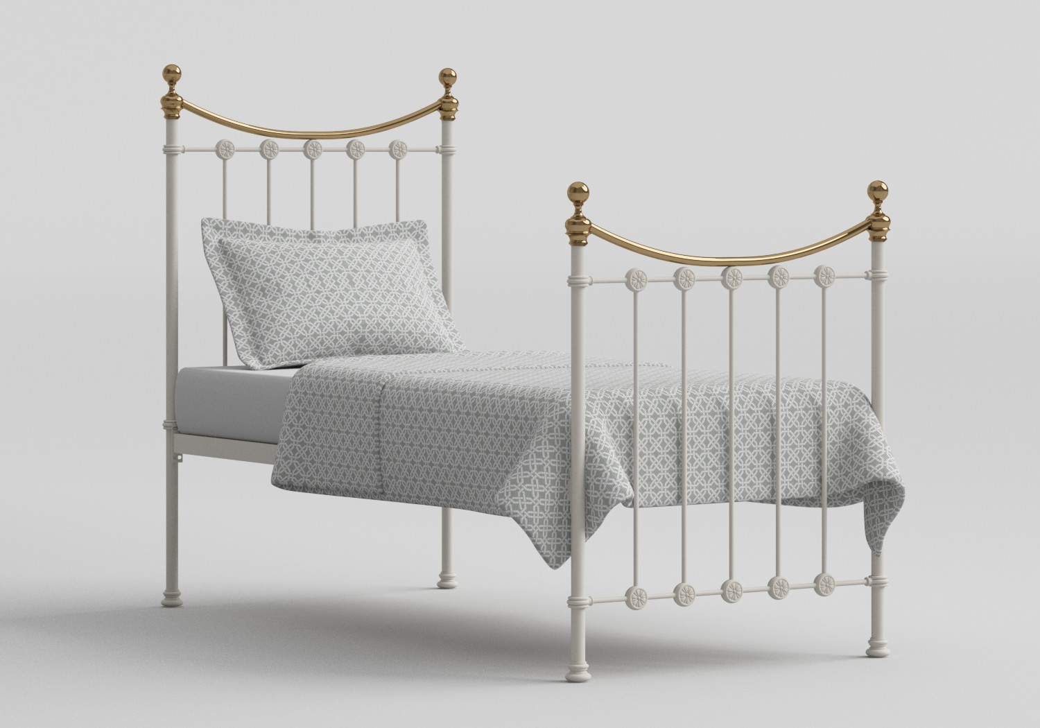 Carrick Single Iron/Metal Bed in Glossy Ivory