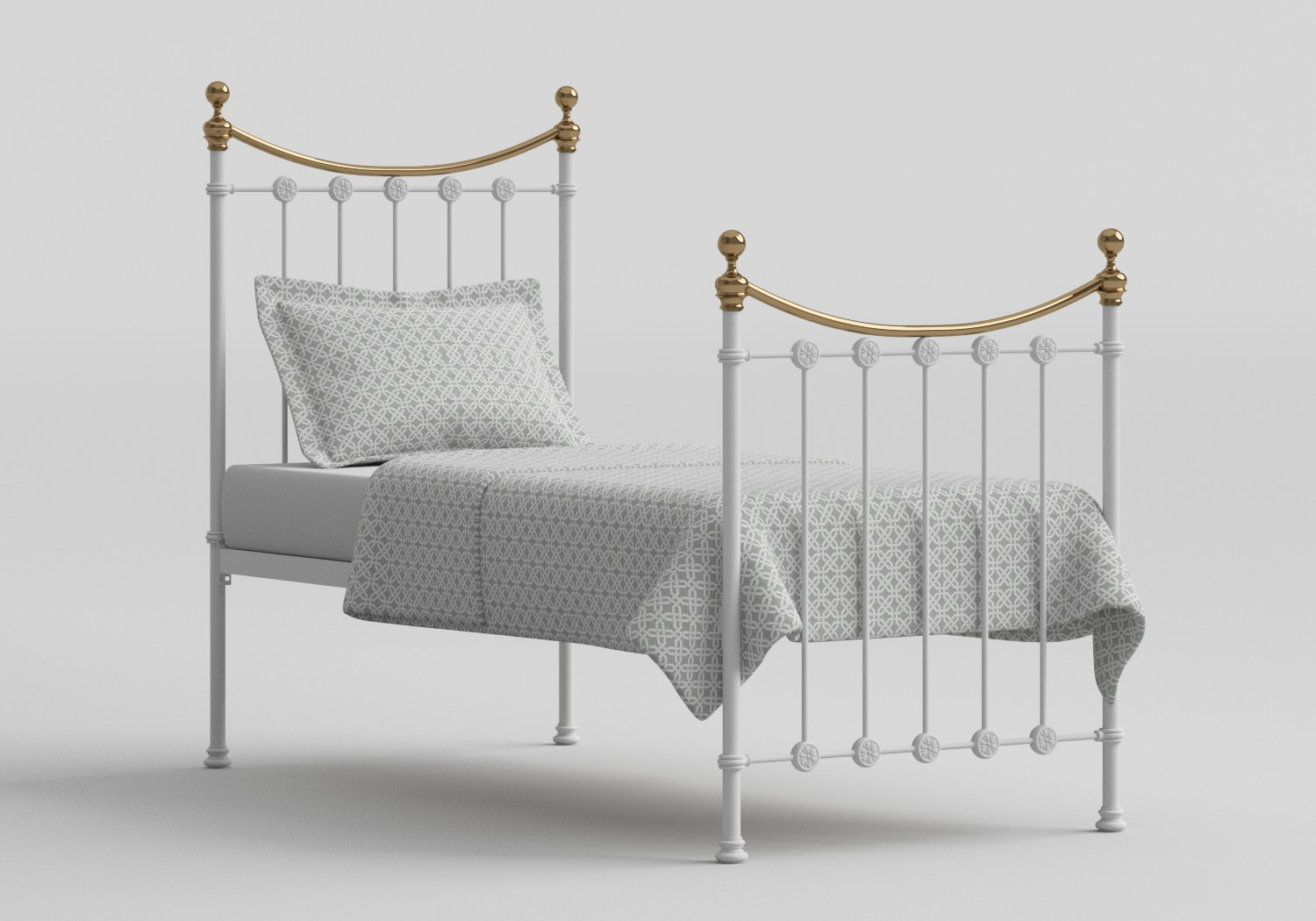 Carrick Single Iron/Metal Bed in Satin White