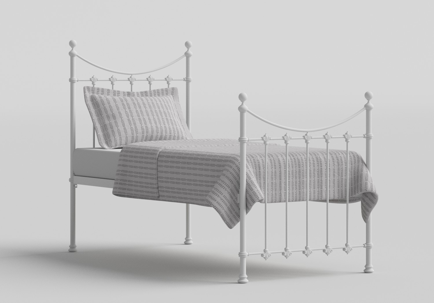 Chatsworth Single Iron/Metal Bed in Satin White