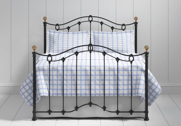 Clarina iron bed in black with brass knobs