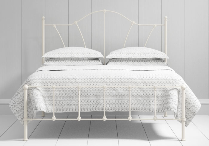 Claudia low footend iron bed in ivory