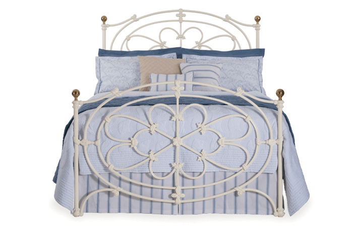 Cripps iron bed in glossy ivory with antique brass knobs