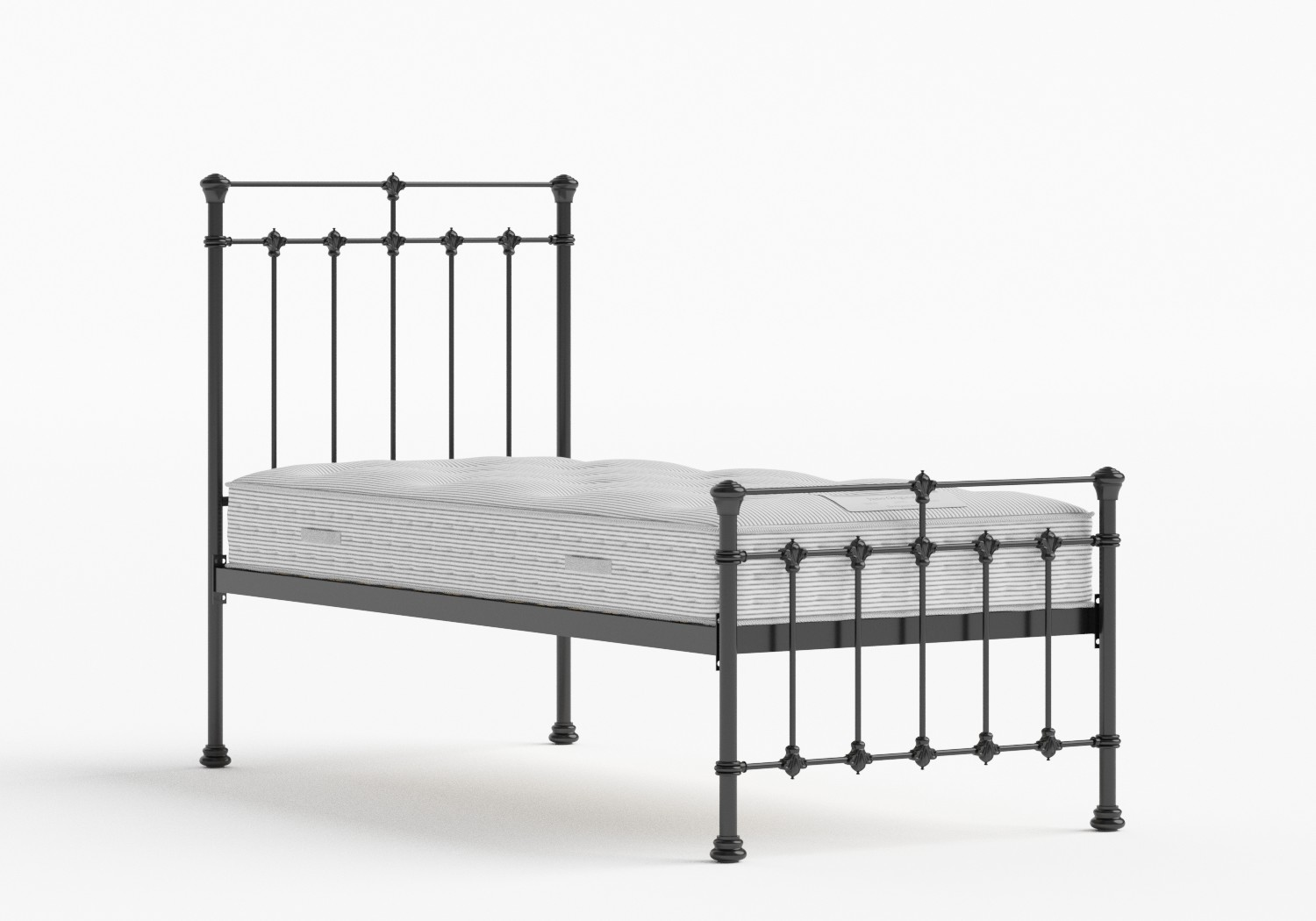 Edwardian Single Iron/Metal Bed in Satin Black