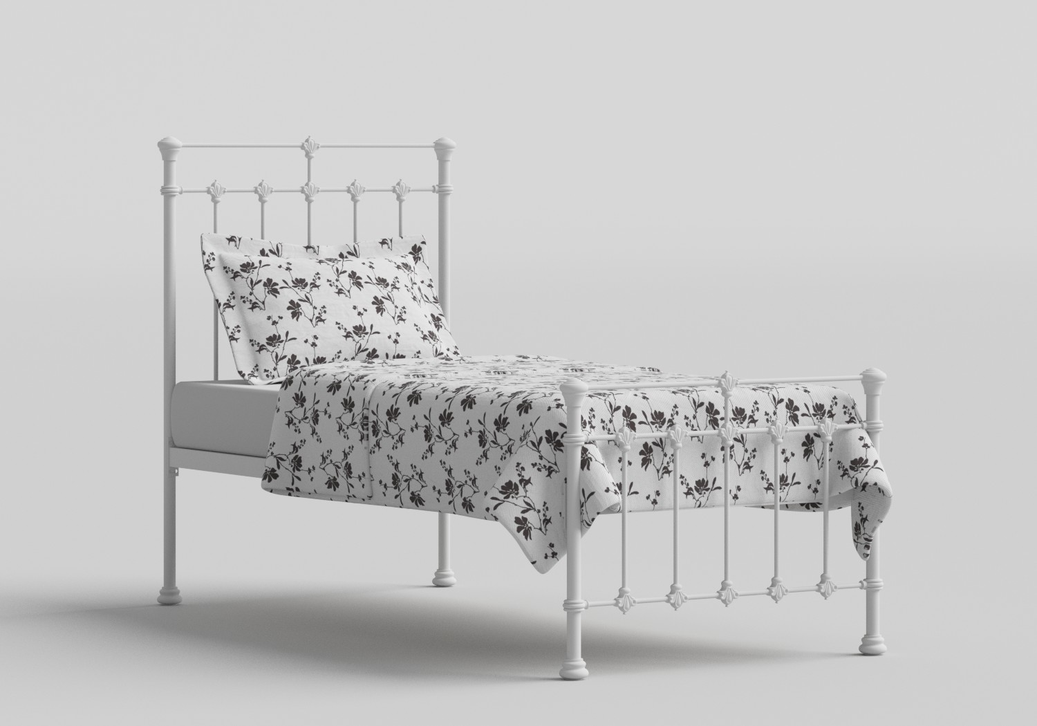 Edwardian Single Iron/Metal Bed in Satin White