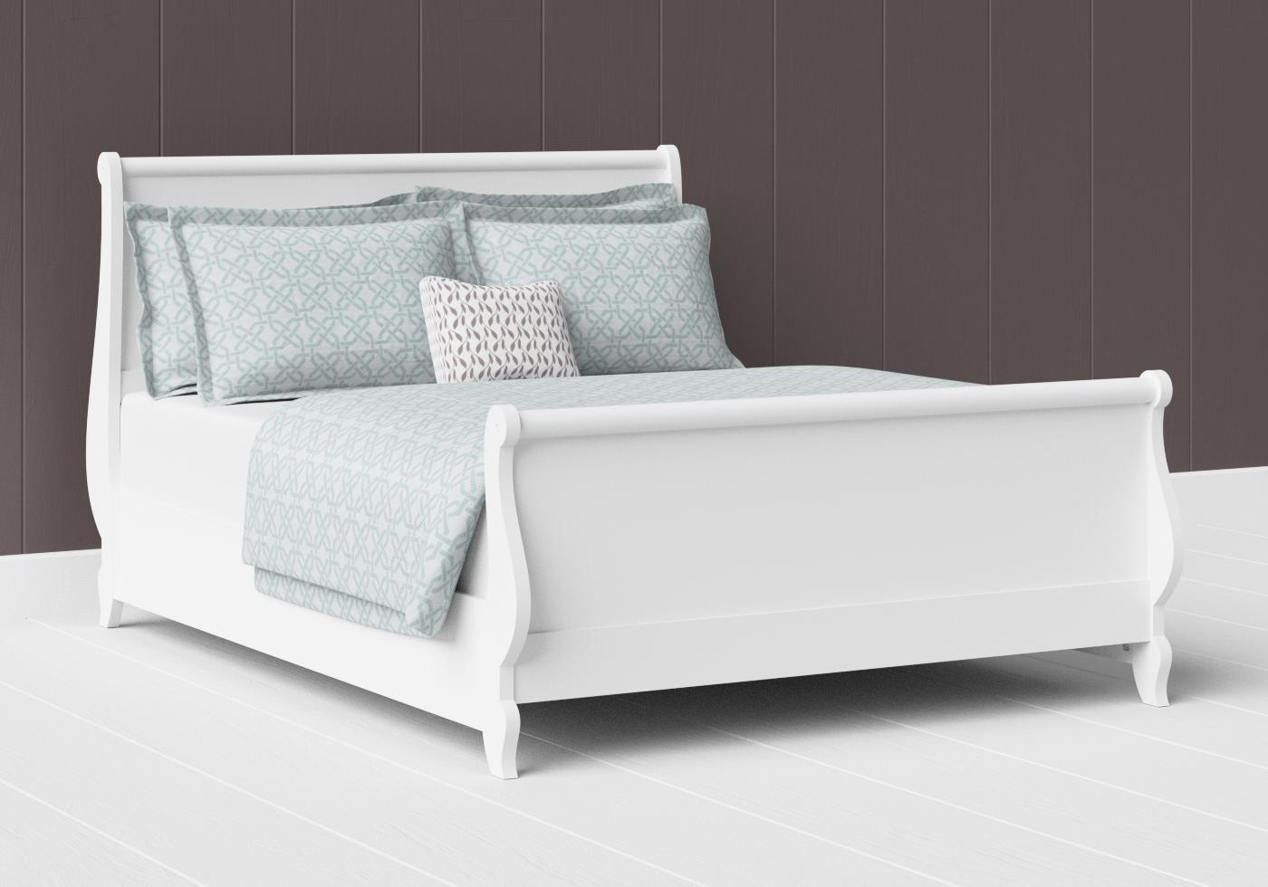 Elliot painted wood bed in satin white