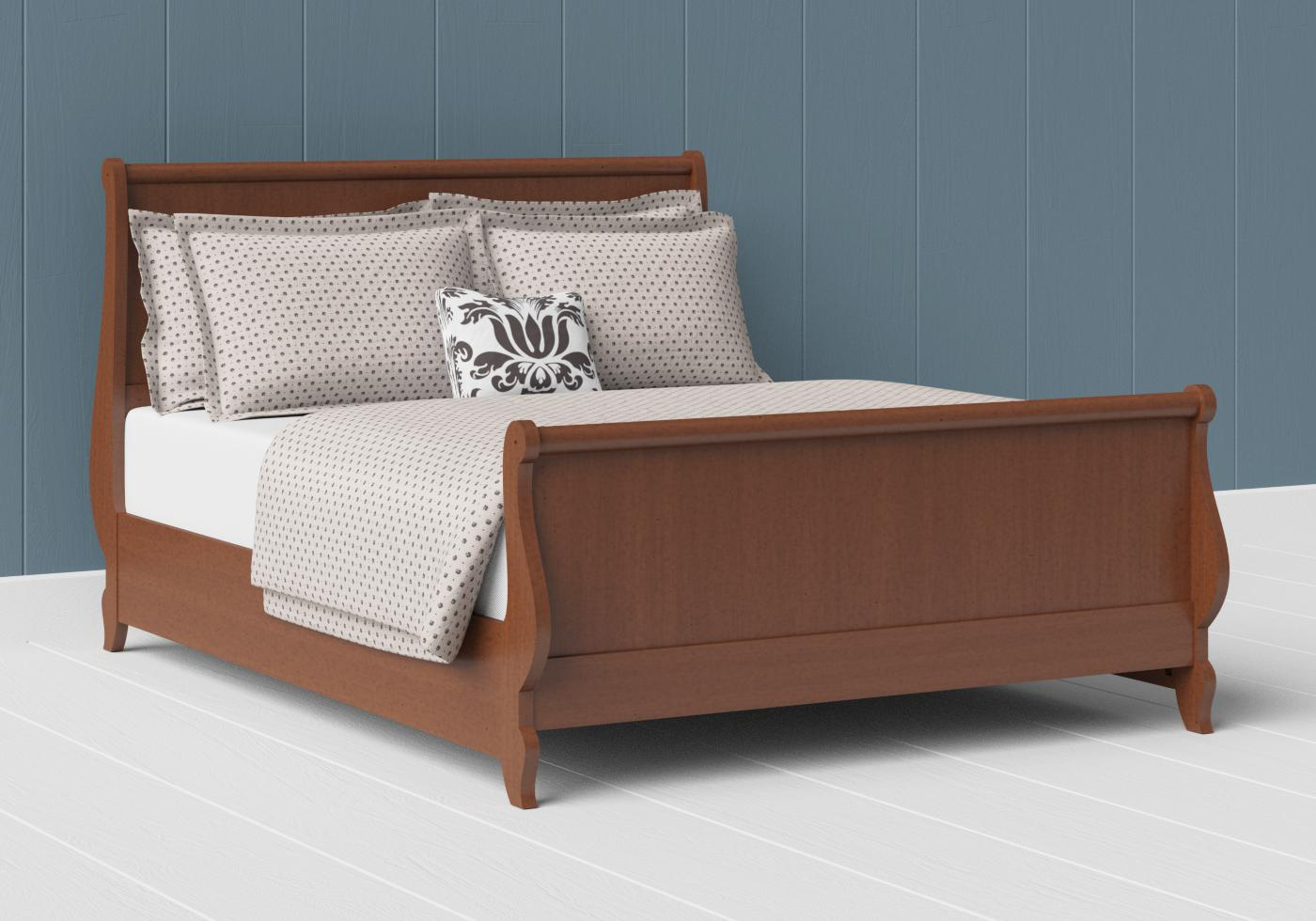 Elliot wood bed in a dark cherry finish
